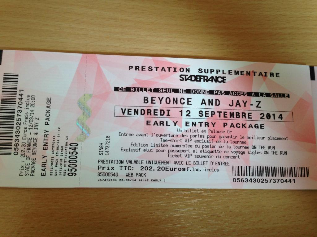 2 Early Entry Vip Beyonce Jay Z On The Run Tour Paris Tickets For