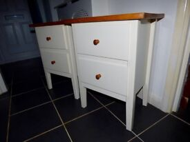 2 X CREAM PINE BEDSIDE CABINETS