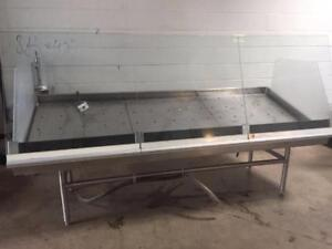 Ice Fish Display Stainless Steel Display Table with Front Glass