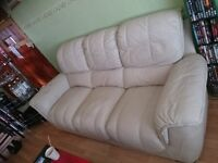 3 seater leather sofa / couch / settee for sale, cream colour