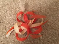 Wedding Princess Fascinator : Ivory, Bright Orange & Burnt Orange