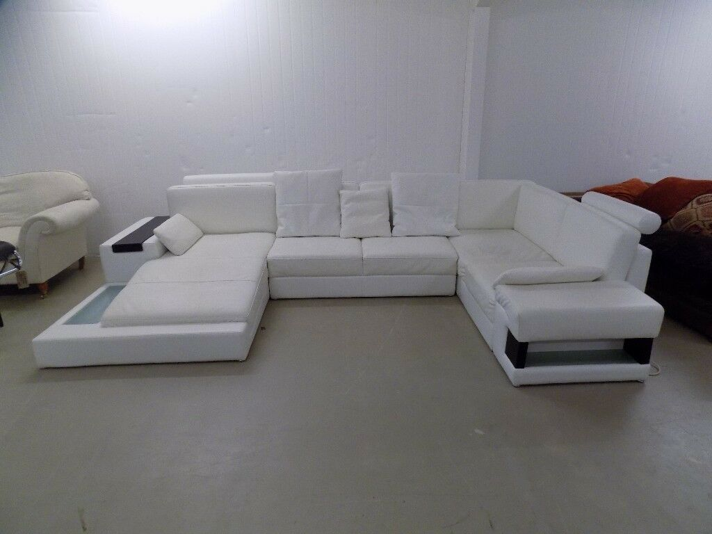 Modern White Italian Leather U Shaped Sofa Suite