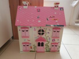 Wooden Doll's House with Dolls