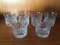 set of 6 Edinburgh Crystal Lomond Cut Glass Tumblers Signed