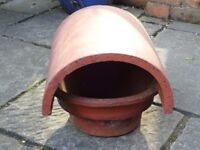 "TERRACOTTA CHIMNEY COWL/POT/COVER - 6"" INTERNAL DIAMETER BASE, COVER IS 12.5"" LONG - EXCELLENT COND"