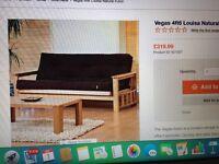 Heavy wood frame futon style sofa bed