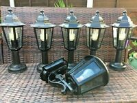5 ALUMINIUM ELECTRIC OUTDOOR LAMPS AND 1 WROUGHT IRON DOOR LAMP