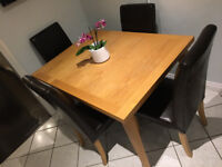 Brown Faux Leather Dining Chairs x 4