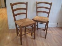 Pair of Solid Wood Vintage Kitchen / Dining Chairs with Rush Seats - Very good condition