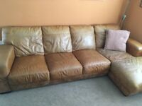 Four seat corner sofa chair and pouffe