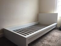 IKEA MALM Single bed frame WHITE & matress - gd condition