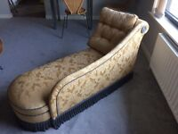 Beautiful Chaise Longue in Gold Tapestry with Blue Piping