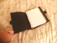 Filofax (Standard Size) Black leather & grey interior with 'Elastic band'