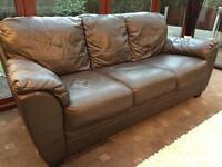 3 Seater Brown Leather Sofa Good Condition