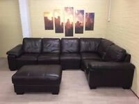 Huge Brown Leather Corner Sofa