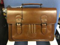 RJR John Rocha Mens Designer Tan Leather Satchel Briefcase Bag
