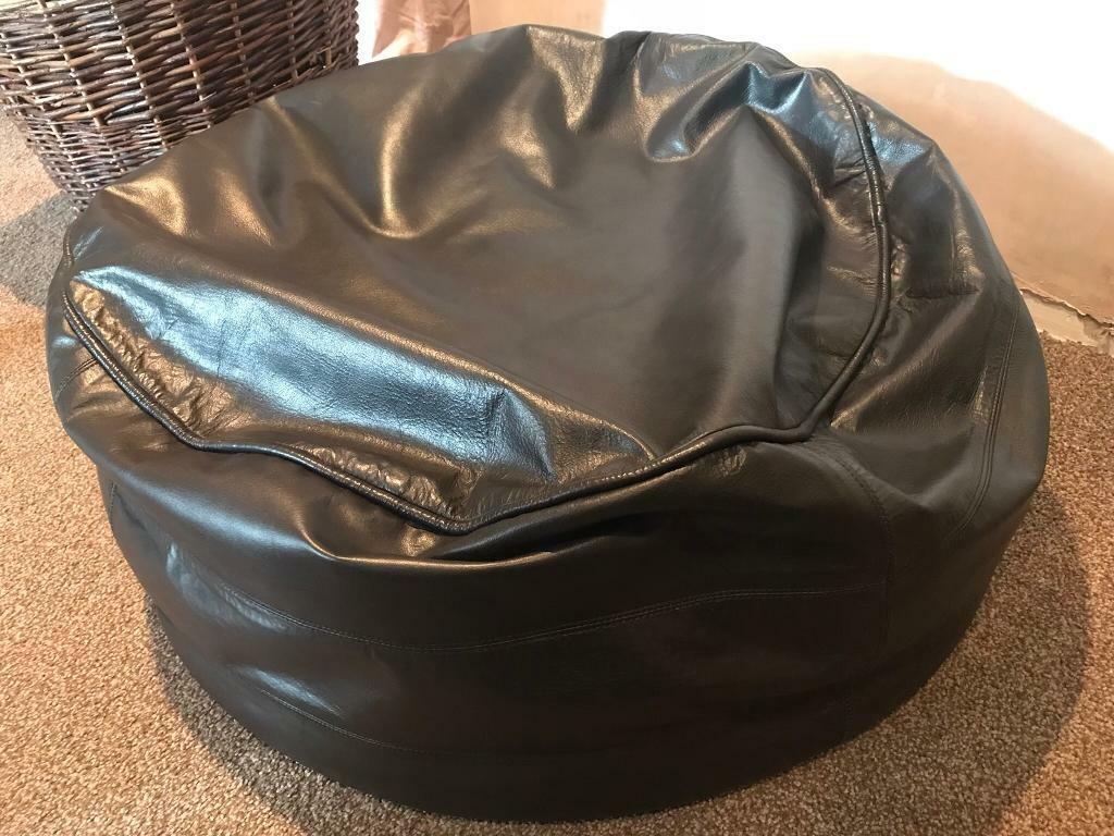 Genuine Real Leather Brown John Lewis Large Bean Bags