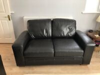 Brown leather 2 seater and 3 seater sofas from Next
