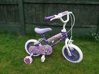 """Girls 12"""" bike, with stabilisers."""