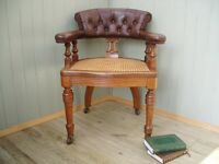 Stunning Vintage Bergere Leather Captains Chair