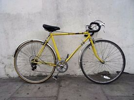 Mens Road/ Racer Bike, Yellow, Lugged Steel Frame with Campagnolo Parts, JUST SERVICED/ CHEAP PRICE!