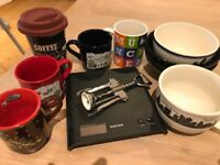 Kitchen accessories-Mugs, 3 bowls, scales, bottle opener