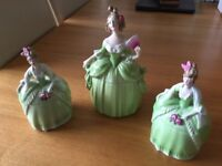 Antique Three female figurine China dressing table set