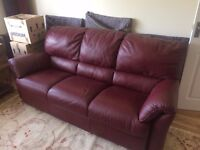 Italian Red Leather 3-Piece Suite