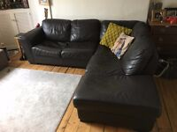 Leather Chaise Sofa - Dark Brown/Black £150 ono
