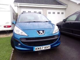 LOVELY BLUE PEUGEOT 207SW. Manual 1.4 petrol 2007. FSH. 96,000 MILES. VERY GOOD CODITION!