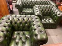 Fabulous quality and condition chesterfield deep button Oxford Green three piece suite