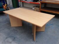 BEECH EFFECT SHAPED BOARDROOM TABLE, MEETING, OFFICE, CONFERENCE, WILL FLAT PACK