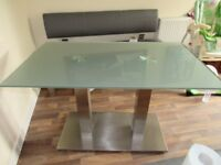 120 CM NOVA GLASS PEDESTAL DINING TABLE