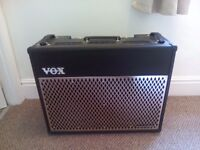 Vox vt-100 valvetronix 2x12 combo amplifier with bespoke leather cover and vt-55 footswitch