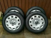 Vw skoda seat audi 5x112 steel wheels with 195-65-15 tyres & wheel trims