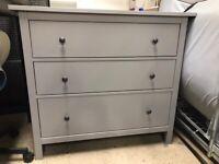 HEMNES Chest of 3 drawers, grey stained108x96 cm IKEA CROYDON #bargaincorner