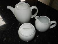 Denby White Teapot, Jug & Covered Sugar Bowl Teaset