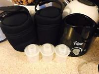 Tommee tippee bottle warmer, 2x Tommee insulated bottle bags and 4 powered milk cups