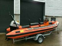 Humber Assault 5.5 Mtr Rib with 90HP Mariner outboard and Indespension rollercoaster trailer