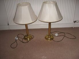 Pair of brass effect table lamps with shades