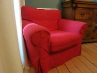 Red IKEA Ektorp Armchair