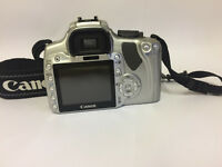 Silver Canon camera EOS 400D with EFS 18-55mm lens
