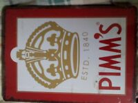 2 'PIMM'S' metal wall DECORATIONS - BRAND NEW - any reasonable offers accepted