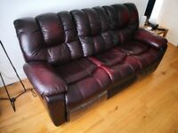 3-seater reclining leather sofa