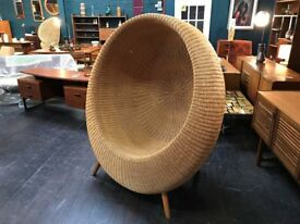 Wicker 'Ball' Chair. Retro Vintage Mid Century