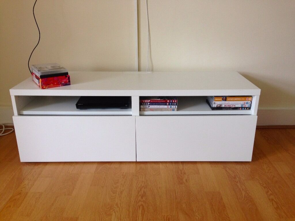 White ikea besta media console tv stand in north london - Ikea table tv ...