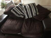 3 seater leather/fabric settee/sofa