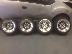 Rota BM8 alloy wheels concave 4x100 15x8 Yokohama 195/50 Honda BMW VW Mazda Vauxhall Nissan drift