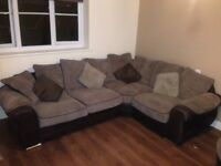 Corner couch and swivel armchair
