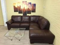 Extra Comfy Brown Leather Corner Sofa